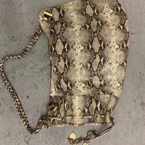 Henri Bendel snake leather one shoulder barrel bag